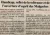 Handicap, reflet de la tolérance et de l'ouverture d'esprit des Malgaches – Titre du Jejoo du 09 mai 2019