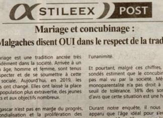 Mariage et concubinage : les Malgaches disent OUI dans le respect de la tradition! - Titre du Jejoo du 16 mai 2019
