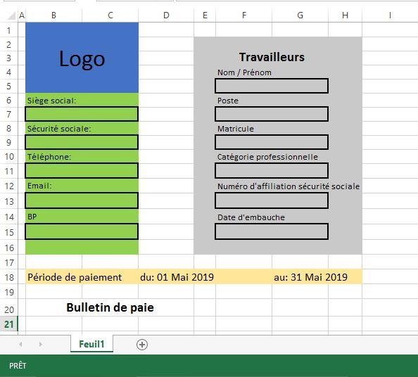Si vous vous décidez à faire votre fiche de paie sur Excel, voilà à quoi votre entête est susceptible de ressembler