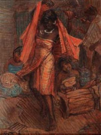 Une œuvre de Razanamaniraka, un des peintres-précurseurs en matière de tableaux malgaches