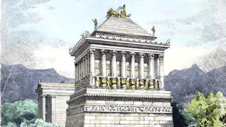 Une illustration parmi les diverses représentations du Mausolée d'Halicarnasse que l'on peut trouver
