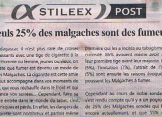 Seuls 25% des malgaches sont des fumeurs – Titre du journal Jejoo du 20 juin 2019