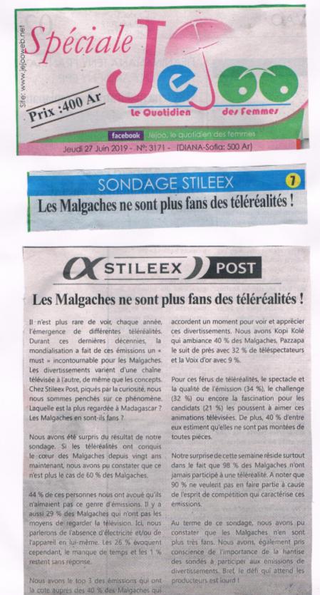 Les Malgaches ne sont plus fans des téléréalités