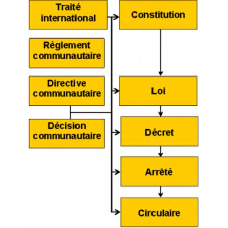 À gauche les textes de loi à impact international, à droite ceux de niveau national