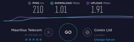 Internet entre Mauricio y el Reino Unido