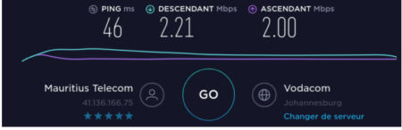Internet speed between Mauritius and South Africa (Johannesburg)
