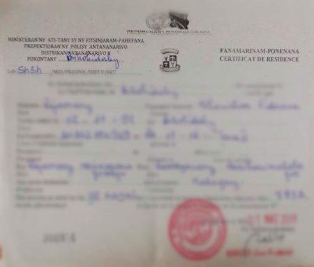 Le certificat de résidence est à récupérer auprès du Fokontany