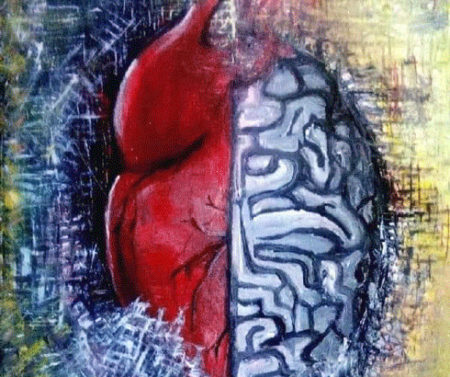 Cette œuvre illustre parfaitement l'originalité de Raherz, la dualité entre le coeur et le cerveau, deux organes différents, mais complémentaires