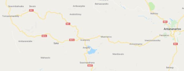 La RN1 reliant Antananarivo et Tsiroanomandidy