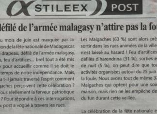 Le défilé de l'armée malagasy n'attire pas la foule! –Titre du journal Jejoo du 04 juillet 2019
