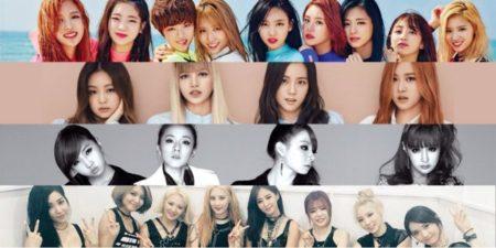 De arriba a abajo: Dos veces, Blackpink, 2NE1 y SNSD