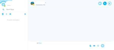 El aspecto de la interfaz en línea de Skype es el siguiente