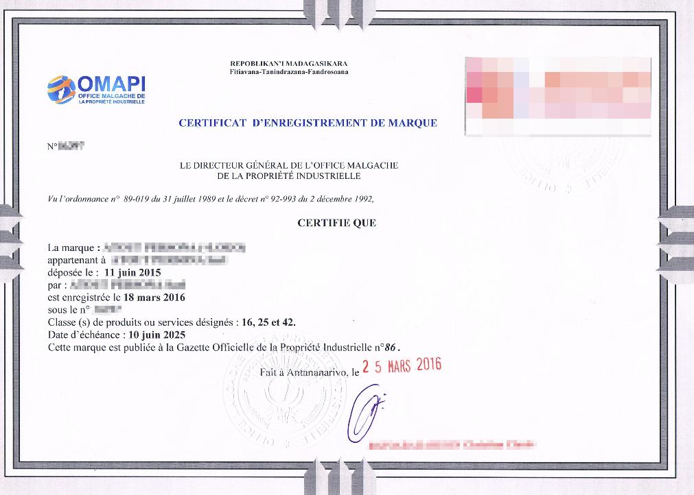 Un exemple de certificat délivré par l'OMAPI