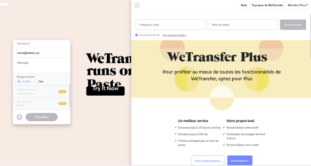 Wetransfer Plus for more features