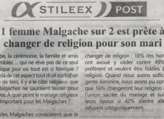 1 femme Malgache sur 2 est prête à changer de religion pour son mari – Titre du journal Jejoo du 8 août 2019