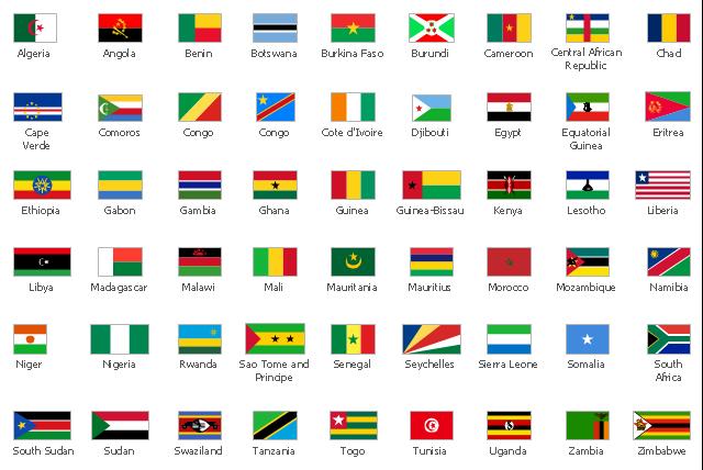 Les pays du continent africain et leurs drapeaux