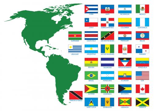 Les pays du continent américain et leurs drapeaux