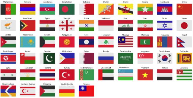 Après avoir vu les capitales des pays du continent asiatique, voici leurs drapeaux