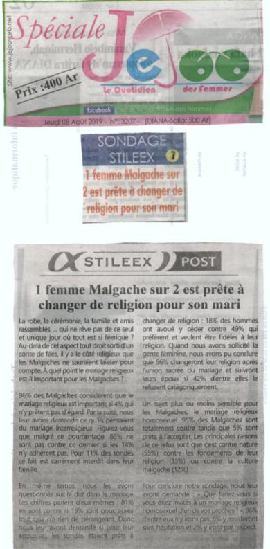 1 femme Malgache sur 2 est prête à changer de religion pour son mari