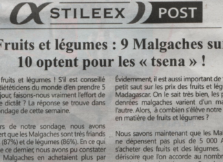 Fruits et légumes: 9 Malgaches sur 10 optent pour les «tsena»! - Titre du journal Jejoo du 22 août 2019