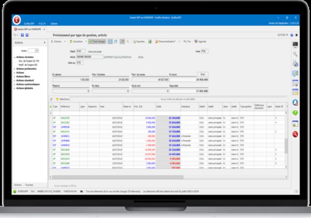 Capture d'écran du logiciel de gestion de stock Eurêka