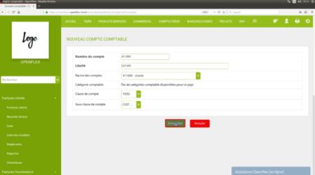 Création d'un compte comptable sur Openflex