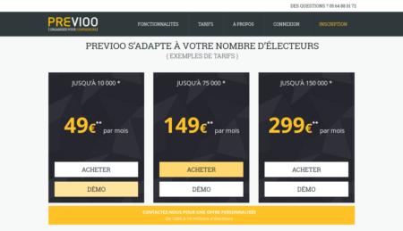 Les prix affichés sur le site du logiciel