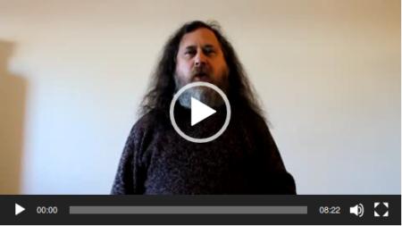 Capture d'écran d'une vidéo de Richard Stallman, le pionnier des logiciels libres