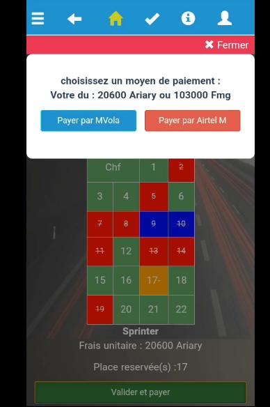 Le paiement via mobile banking sur l'appli