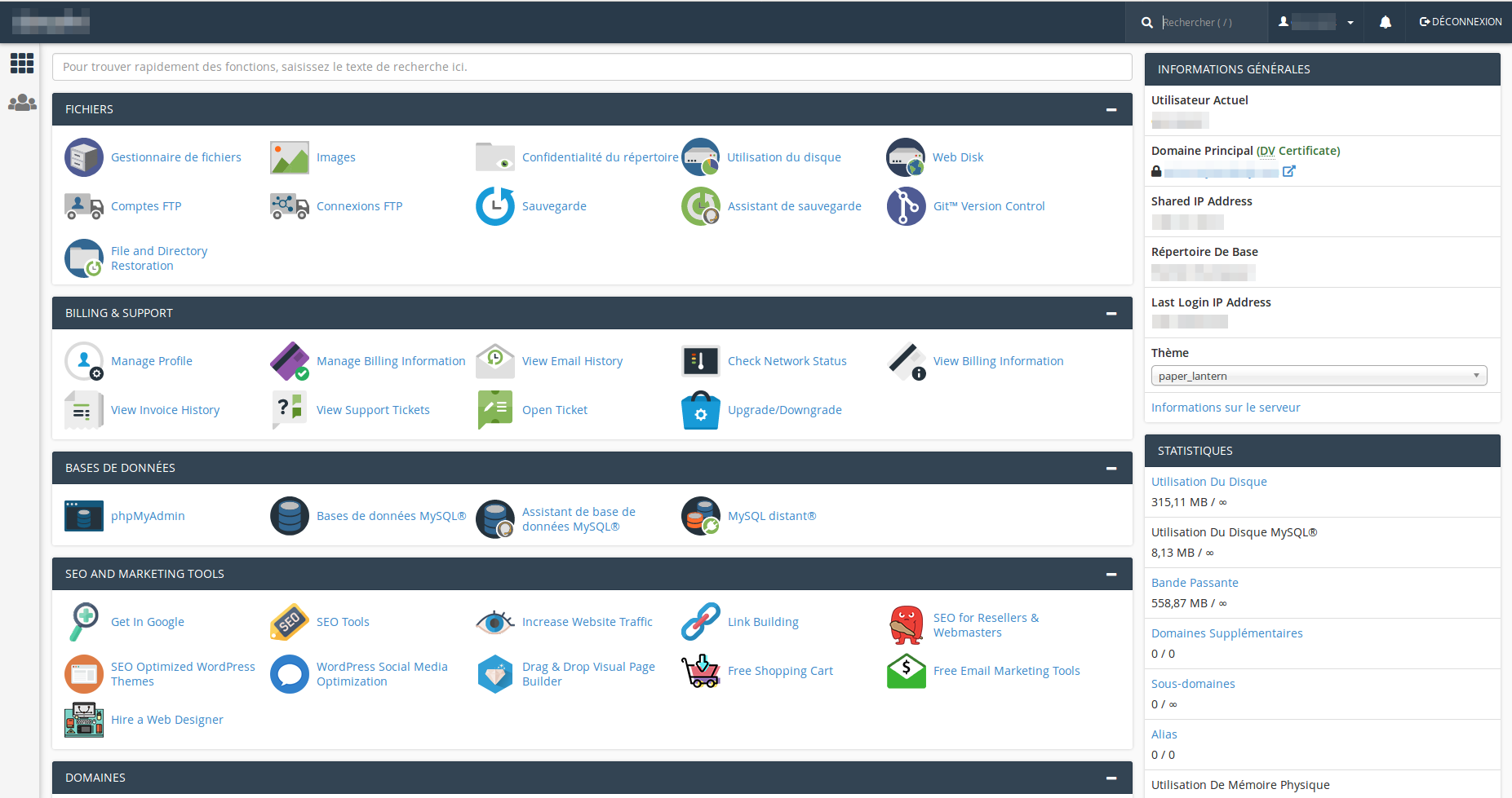 L'interface de cPanel