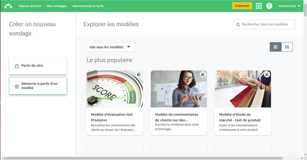 L'interface de création de sondages Survey Monkey