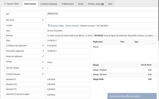 Un exemple de fiche facture qui permet d'effectuer une tenue de comptabilité transparente