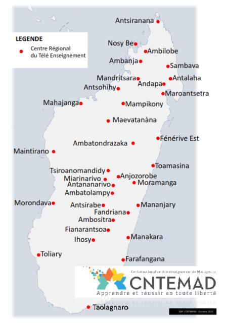 Les différents centres régionaux de CNTEMAD dans tout Madagascar