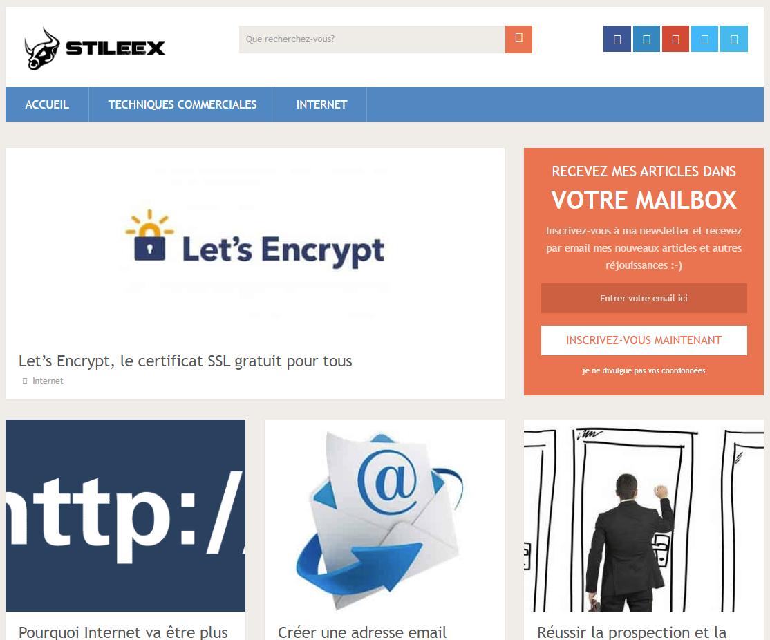 La première version de Stileex.xyz en février 2015