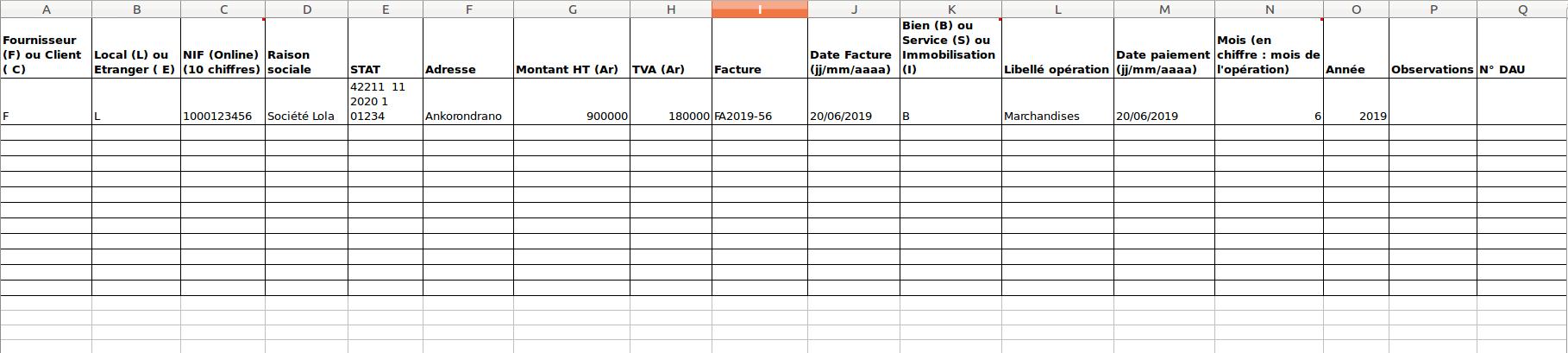 Le fichier Annexe pour la déclaration de la TVA à Madagascar