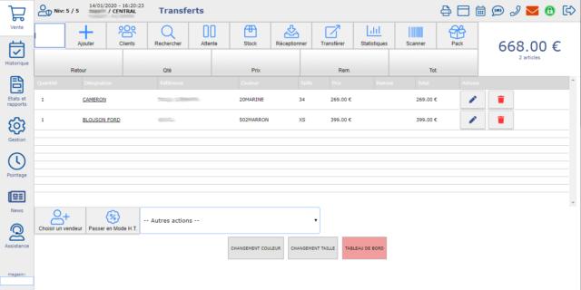 Interface du logiciel de caisse fastmag