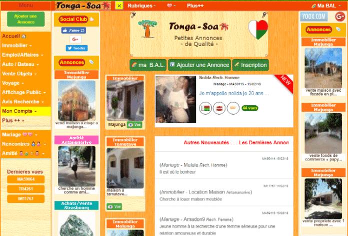 La nouvelle page d'accueil du site tonga-soa.com
