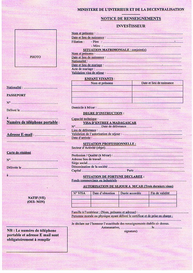 Voici la notice de renseignement à retirer auprès de l'EDBM