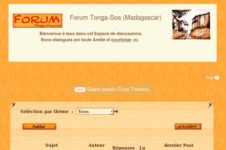 Forum de discussion sur Tonga Soa