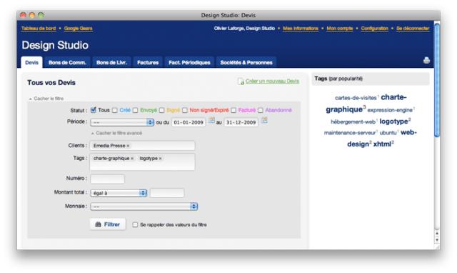 Rozhraní softwaru Iscriba pro fakturaci