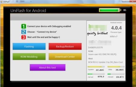 Softwarové rozhraní Uniflash