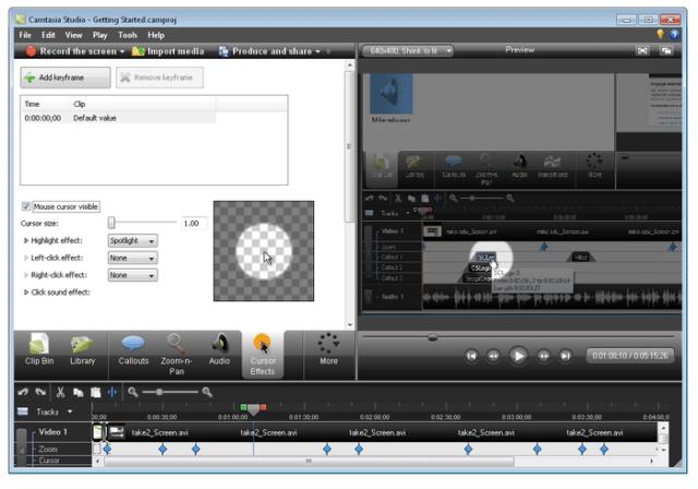 Rozhraní Camtasia, software pro editaci videa