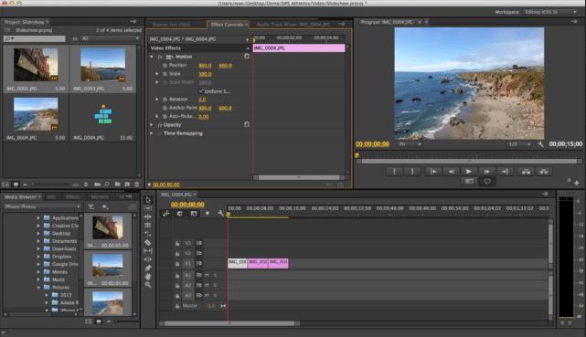 Rozhraní Adobe Premiere Pro