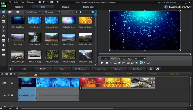 Rozhraní PowerDirector pro editaci videa