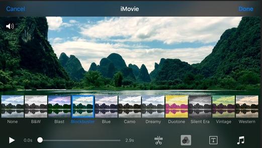 Software pro úpravu videa iMovie MAC iOS