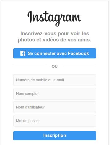 Instagramová přihlašovací stránka