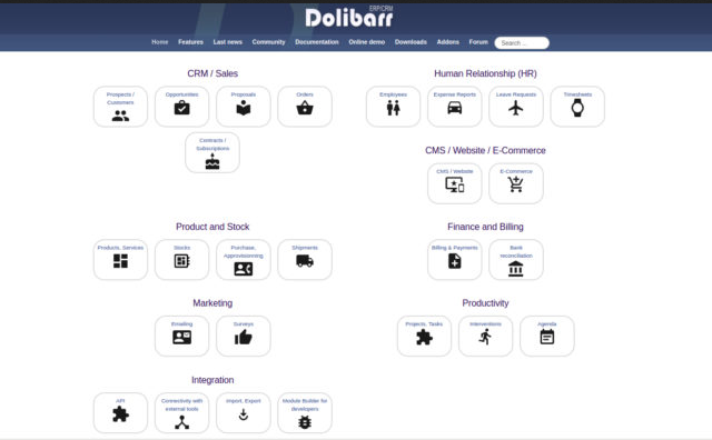 Snímek obrazovky Dolibarr