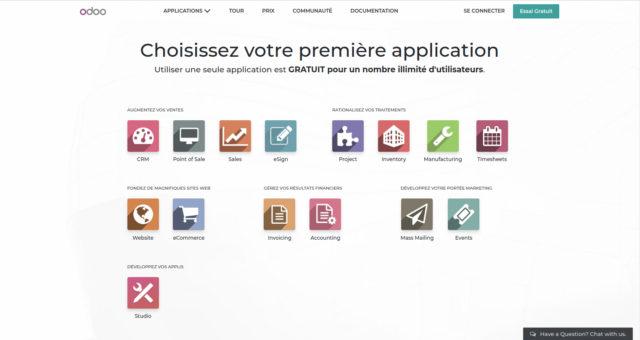 Snímek obrazovky Odoo
