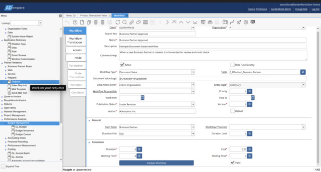 Snímek obrazovky ADempiere