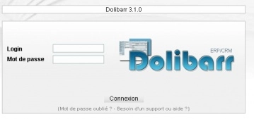 Toto je obrazovka, která by se měla zobrazit po spuštění aplikace Dolibarr